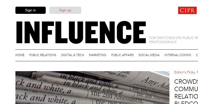 Scott Guthrie influencer relations in CIPR influence