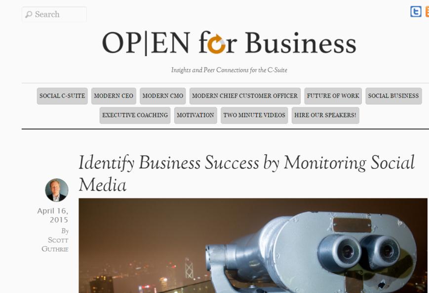 Identify business success by monitoring social media Scott Guthrie sabguthrie