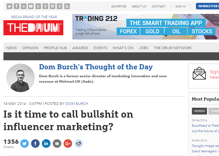 is it time to call bullshit on influencer marketing scott guthrie sabguthrie.