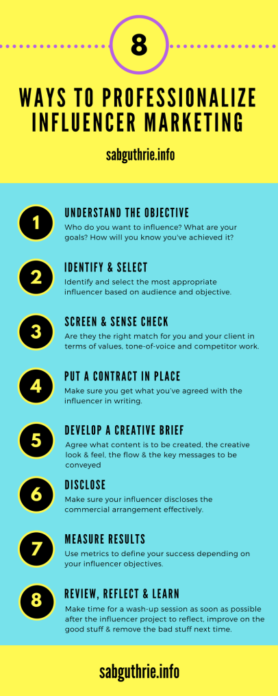 8 ways to professionalize influencer marketing infographic http://sabguthrie.info